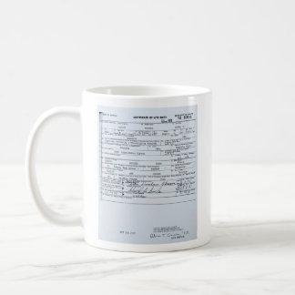 Partida de nacimiento original certificada de taza de café