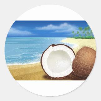 Partida del coco etiqueta redonda