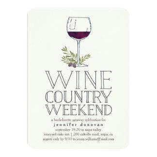 """Partida del fin de semana del país vinícola invitación 4.5"""" x 6.25"""""""