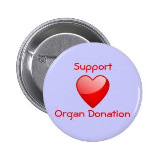 Partidario de la donación de órganos pin redondo de 2 pulgadas