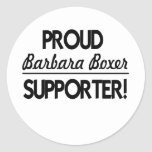 ¡Partidario orgulloso de Barbara Boxer! Pegatina Redonda