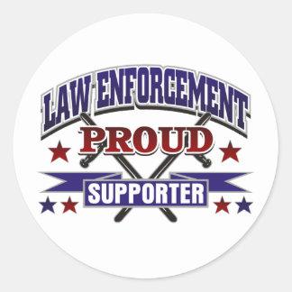 Partidario orgulloso de la aplicación de ley pegatina redonda