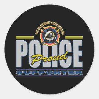 Partidario orgulloso de la policía pegatina redonda