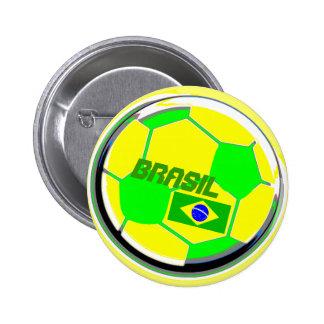 Partidarios del fútbol del Brasil Pin Redondo 5 Cm