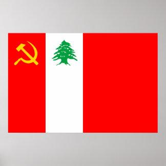 Partido Comunista libanés bandera política de Col Poster