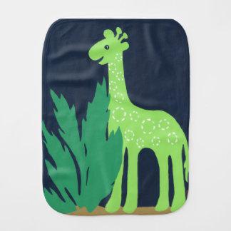 Partido de la jirafa de la selva, verde y azul del paños para bebé