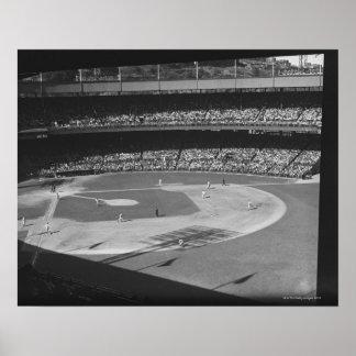 Partido del béisbol en estadio póster