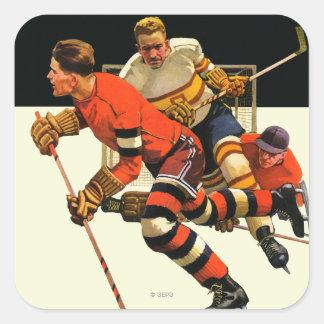 Partido del hockey sobre hielo pegatina cuadrada