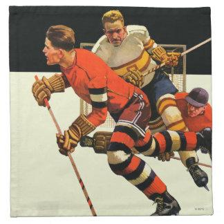 Partido del hockey sobre hielo servilletas imprimidas