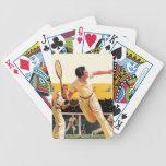 Partido del tenis de los dobles baraja cartas de poker