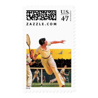 Partido del tenis de los dobles timbres postales