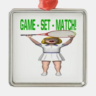 Partido determinado del juego adorno cuadrado plateado