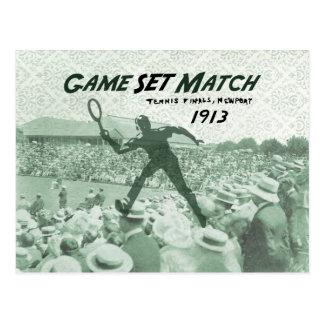 Partido determinado del juego Poster del tenis de Postal