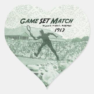 Partido determinado del juego: Poster del tenis Pegatina En Forma De Corazón