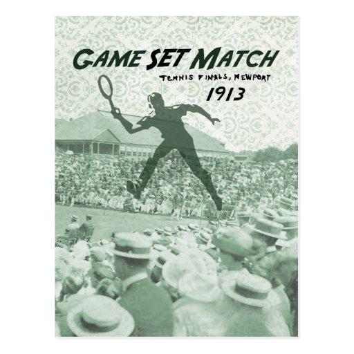 Partido determinado del juego: Poster del tenis Tarjeta Postal