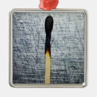 Partido quemado en el acero inoxidable adorno navideño cuadrado de metal