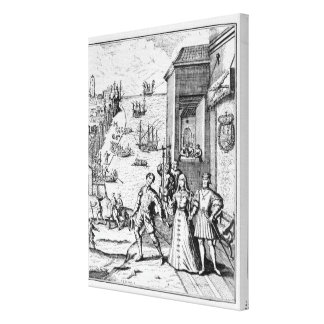 Parting of Columbus with Ferdinand and Gallery Wrap Canvas