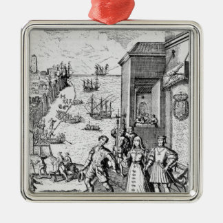 Parting of Columbus with Ferdinand and Christmas Ornament