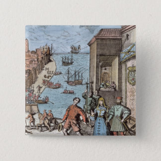 Parting of Columbus with Ferdinand and Pinback Button