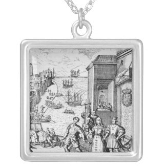 Parting of Columbus with Ferdinand and Silver Plated Necklace