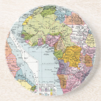 PARTITIONED AFRICA, 1914 SANDSTONE COASTER