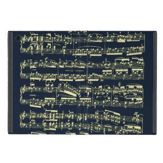 Partitura amarilla brillante de Beethoven en azul iPad Mini Fundas