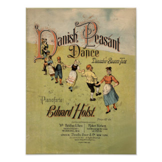 Partitura campesina danesa del vintage de la danza póster