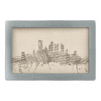 Partitura Citysc del horizonte de Pittsburgh Hebillas De Cinturon Rectangulares