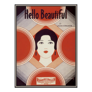Partitura del art déco del vintage hola hermosa posters
