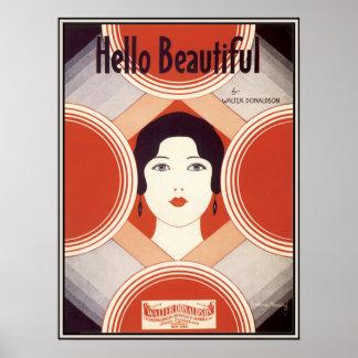 Partitura del art déco del vintage hola hermosa póster