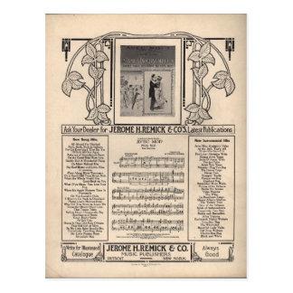 Partitura del tango del vintage postales