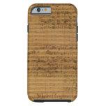 Partitura del vintage de Johann Sebastian Bach Funda Para iPhone 6 Tough