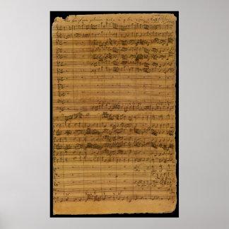 Partitura del vintage de Johann Sebastian Bach Póster