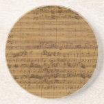 Partitura del vintage de Johann Sebastian Bach Posavasos Cerveza