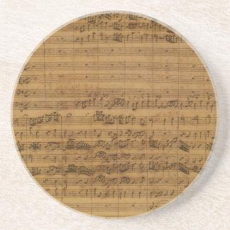 Partitura del vintage de Johann Sebastian Bach Posavaso Para Bebida