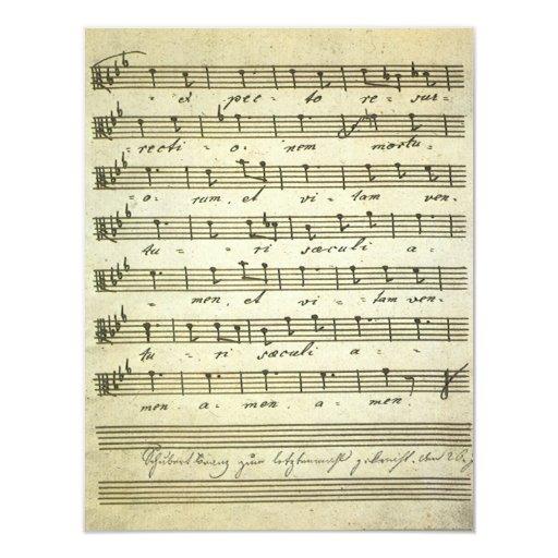 """Partitura del vintage, partitura musical antigua invitación 4.25"""" x 5.5"""""""