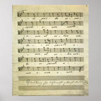 Partitura del vintage, partitura musical antigua póster