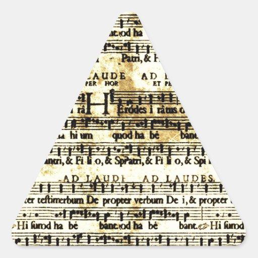 Partitura del vintage calcomanías de triangulos personalizadas