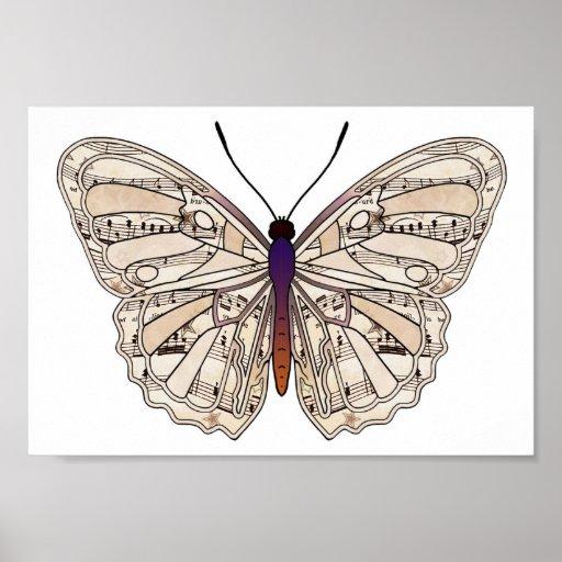 Partitura del vintage - poster de la mariposa