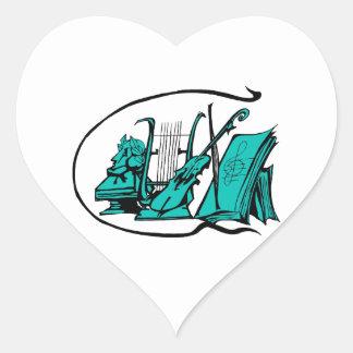partitura design.png del violín del lyre del pegatina en forma de corazón