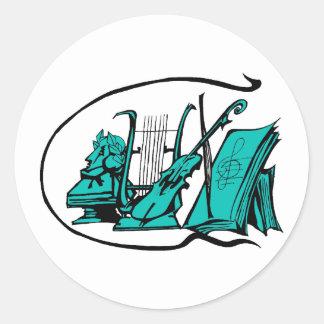 partitura design.png del violín del lyre del pegatina redonda