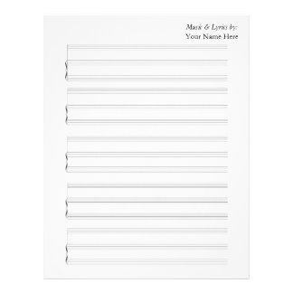 Partitura en blanco para el piano y la voz plantillas de membrete