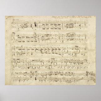 Partitura en el pergamino manuscrito en tinta póster