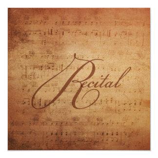 """Partitura musical de la antigüedad del decreto invitación 5.25"""" x 5.25"""""""