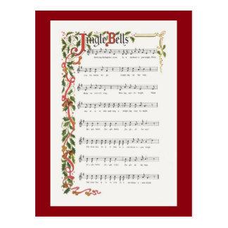 Partitura musical de los cascabeles tarjeta postal