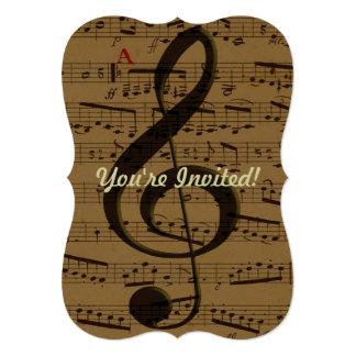 """Partitura musical del Clef agudo Invitación 5"""" X 7"""""""