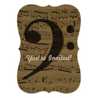 """Partitura musical del Clef bajo Invitación 5"""" X 7"""""""