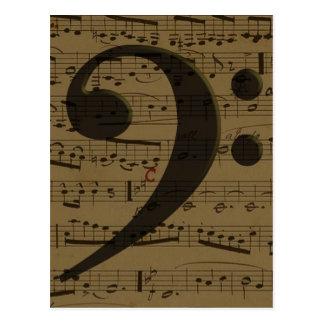 Partitura musical del Clef bajo Tarjeta Postal