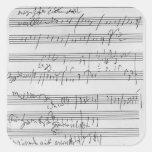 Partitura musical manuscrita calcomanía cuadrada