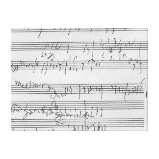 Partitura musical manuscrita lienzo envuelto para galerias
